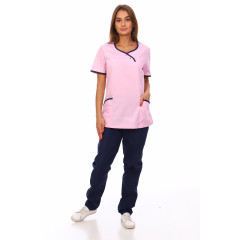 Костюм медицинский М-180А (нежно розовый/черника)